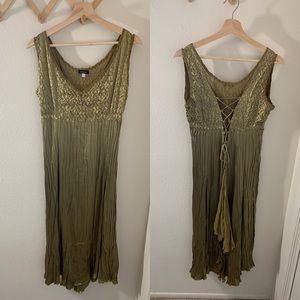 Komarov Olive Gold Crinkle Lace Up Back Dress